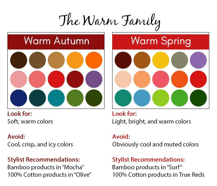 Warm color season - color palette - warm autumn and warm spring