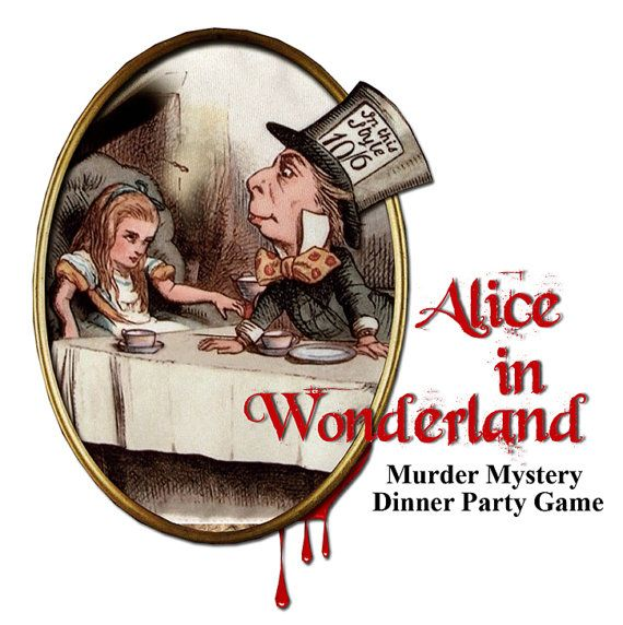 ALICE IN WONDERLAND,  Dinner Party Murder Mystery Game .Vintage style look, book lets, clues , Printable Dowwnload now..art
