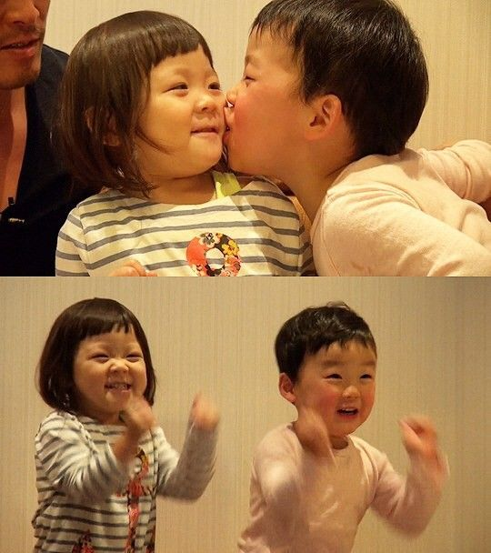 Choo Sung Hoon's daughter Sarang enjoys a play date with her boyfriend   allkpop.com Superman is Back - how cute are they?!!!