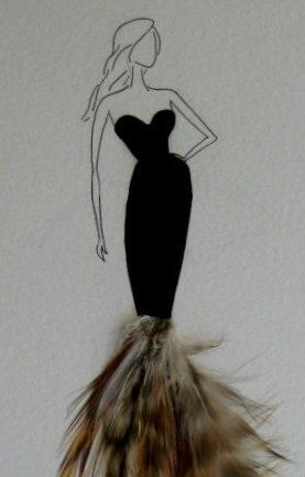 Fashion Illustration, pen, watercolour, and feathers