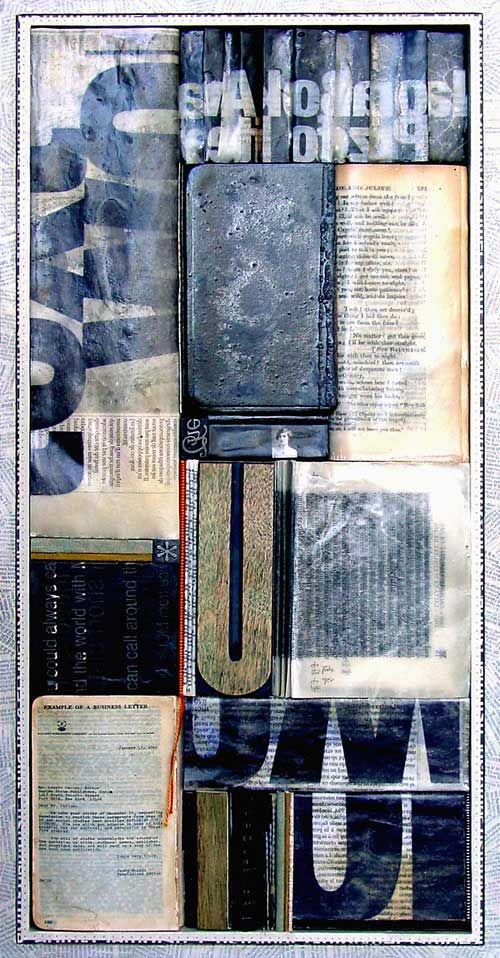 Assemblage of found and prepared papers, leather and thread, encased in paraffin; wood and metal type