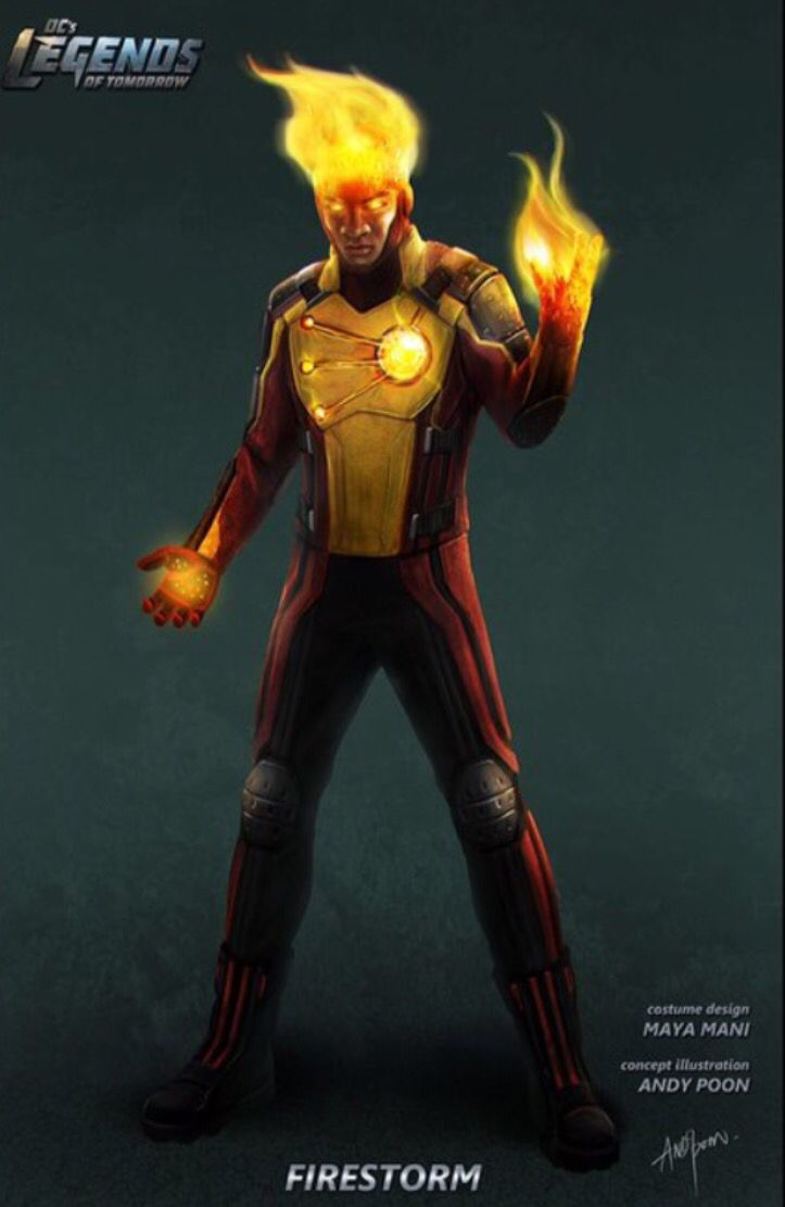 """Concept art of Firestorm from DC's """"Legends of Tomorrow"""" (2015) by Andy Poon."""