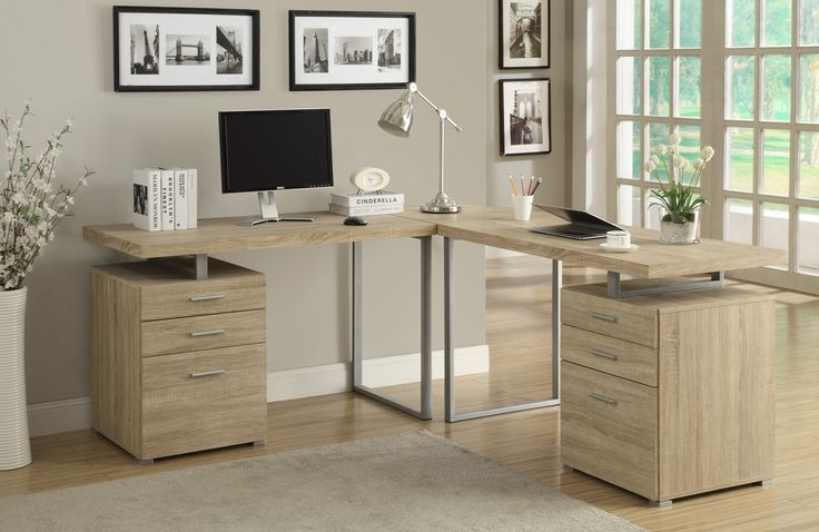 This simple yet practical 3pc L-shaped desk is the perfect addition to your home office. The natural reclaimed wood-look finished desk can conveniently be placed on the left or right side offering you