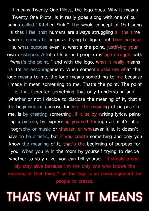 Tyler Joseph on the meaning of the twenty one pilots logo