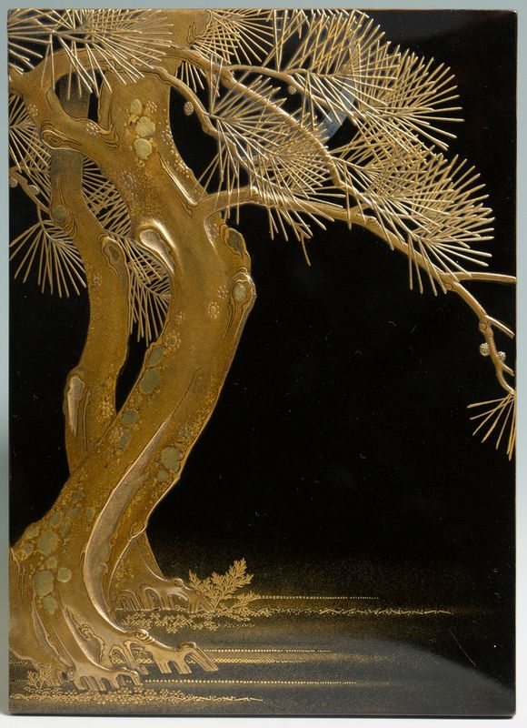 Suzuribako, Writing Box decorated with a moon behind a pine tree, 19th century. Takamaki-e lacquer on roiro ground; details in gold and silver hiramaki-e, uchikomi, kirikane, ohirame, kimpun and mura nashiji; Rims in fundame; silver and shakudo mizuire in the shape of a mussel shell with clams. 17.6 x 12.9 x 2.2 cm. Image Courtesy of Giuseppe Piva Japanese Art.