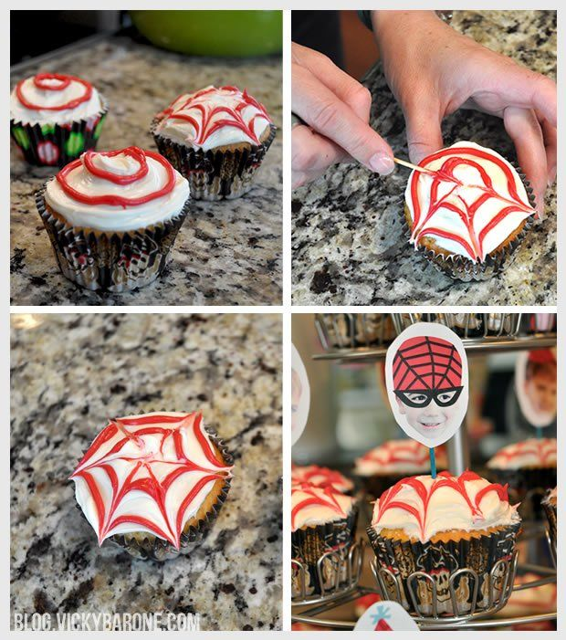 This technique could be used to make spiderwebs for Halloween cupcakes too!   Previous Pinner: DIY Spiderweb cupcakes for boy's Spider-Man birthday party!