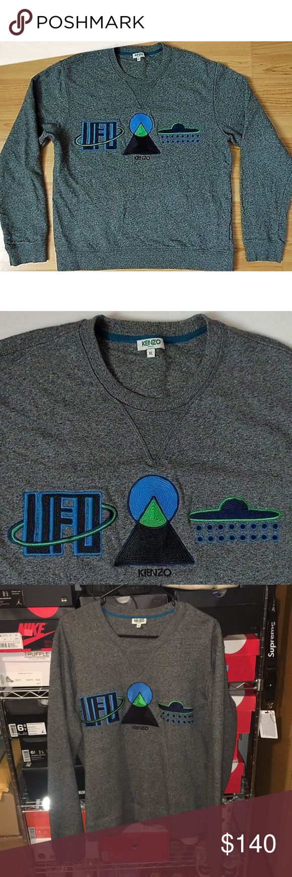 Kenzo Paris Mens XL Embroidered UFO Sweatshirt Kenzo Paris Mens XL Gray Embroidered UFO Sweatshirt Kenzo Shirts Sweatshirts & Hoodies