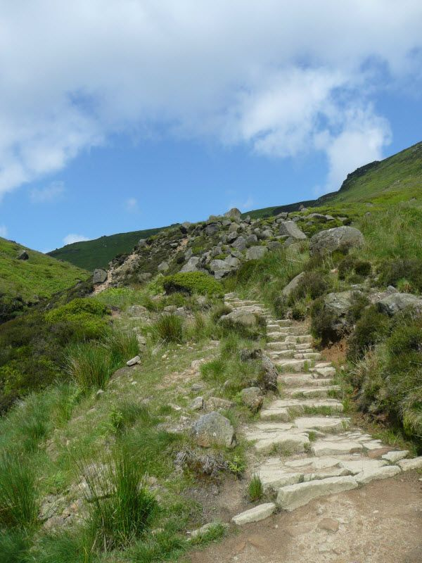 Jacobs Ladder near Edale, Derbyshire in the Peak District the southern slope leading up to Kinder Scout