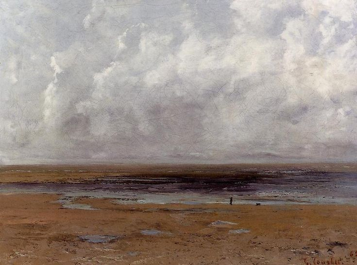 La Plage de Trouville à marée basse (2), huile sur toile de Gustave Courbet (1819-1877, France)
