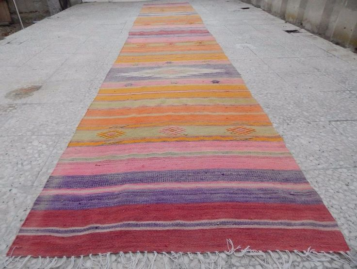 16'  Faded Pale Runner,Vintage Woven Extra Long Kilim Rug Entryway Hall Runner  #Turkish