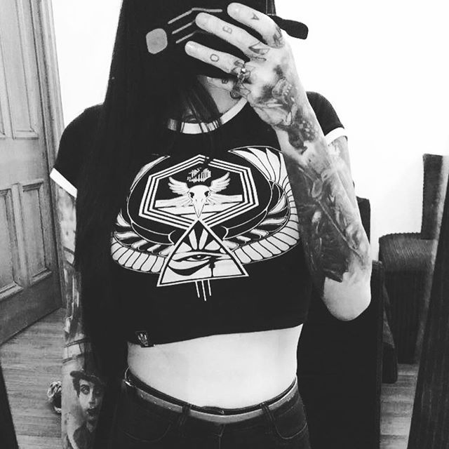 "Can we all take the time to appreciate how  my wife @leesa777 looks in our new crop tops?! #fuckingnom ""Horus Rising"" cropped tops available at www.crmcclothing.co 