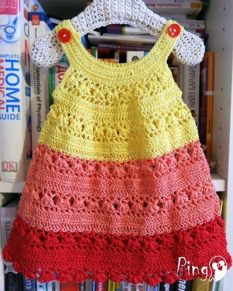 Crochet PATTERN - Crochet Summer Dress, Instant Download (pdf file), Sizes - 0 to 6 years, Crochet Pattern