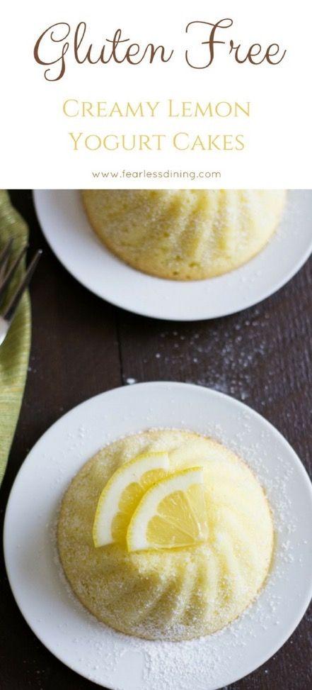 Easy creamy gluten free lemon yogurt cakes. Gluten free lemon cake recipe. How to make a yogurt cake in just a few easy steps.