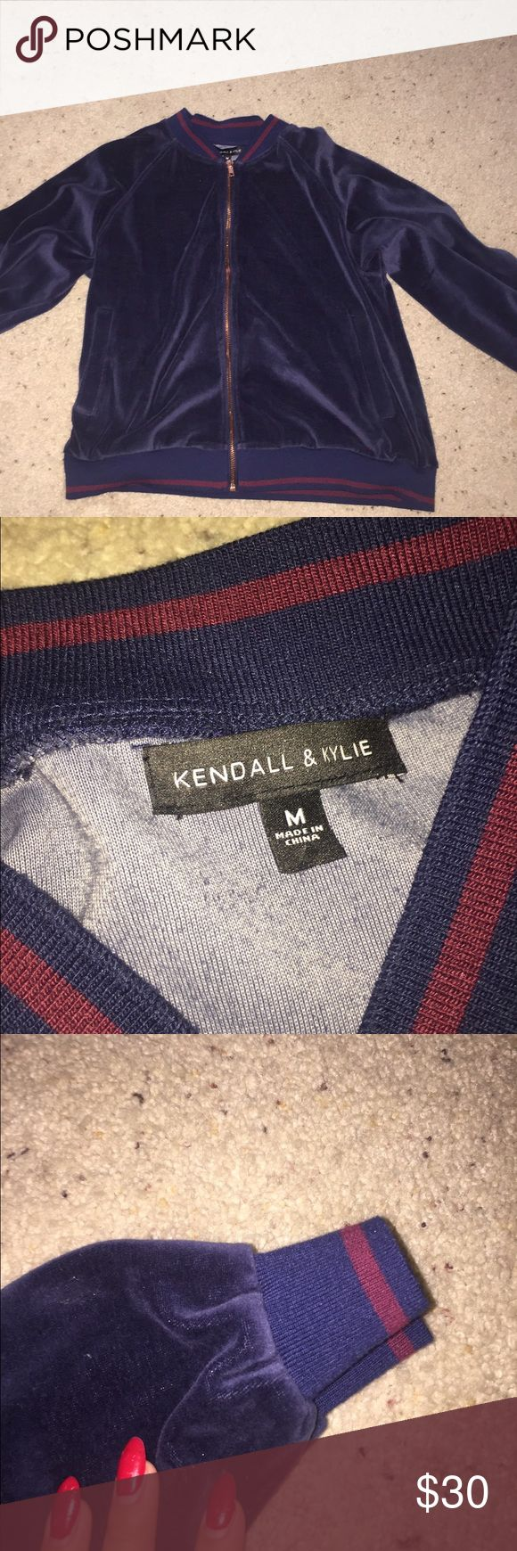 Velvet zip up Kendal&kylie jacket Burgundy stripes, gold zip up. Never worn, never had the chance too. Kendal&kylie collection PacSun Jackets & Coats