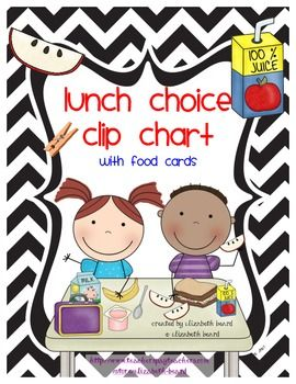Lunch Choice Clip Chart! Attach these Lunch Choice Cards to a cute ribbon and hang in your room! Place velcro in the middle of the cards to change the different choices for the day! Then the student will add their clip with their name on it.