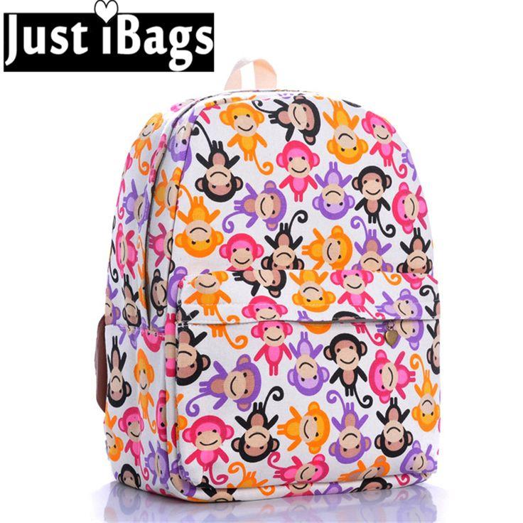 2016 New hot girl women cute Cartoon Monkey printing backpack student school College book bag travel laptop rucksack bag pack