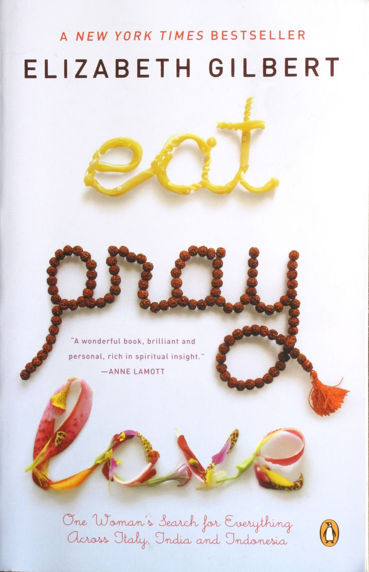 http://maxboam.files.wordpress.com/2010/07/eat-pray-love-book-cover.jpg    The cover for the book: Eat Pray Love. It is great typography work as it express the exact meaning of the book and movie as well.  http://maxboam.wordpress.com/tag/book-design/