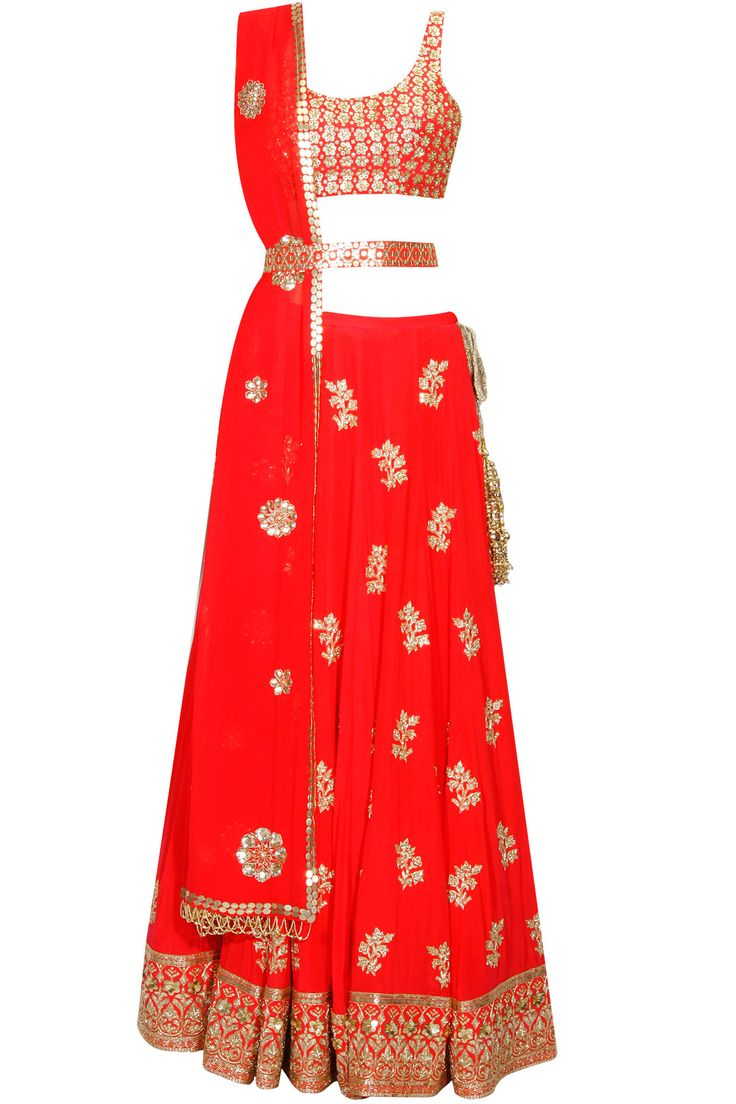 Neon orange sequins embroidered panels lehenga set available only at Pernia's Pop Up Shop.