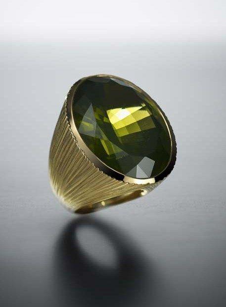 Walid Akkad peridot and textured gold ring