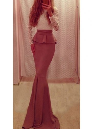 Mermaid cut maxi dress with bow back detail and lace long sleeved top.