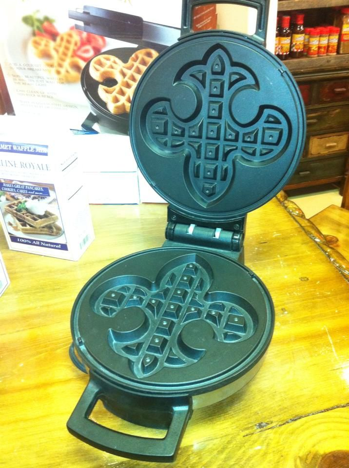 These are great for breakfast or to top off a great celebration. Drizzle with purple, green and gold for a festive Mardi Gras waffle. Imagine the possibilities. $49.99 in our store and we can ship them email us at mailto:orders@esk...