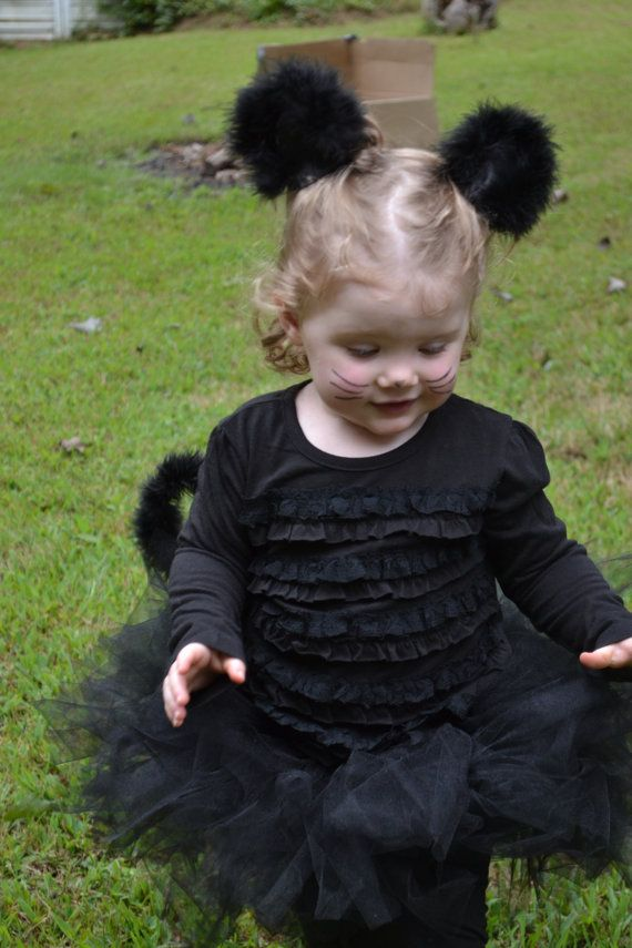 Black Cat Costume - Halloween Toddler Costume  Includes full tutu, tail, and ears -  by ChachaTutu, $32.00
