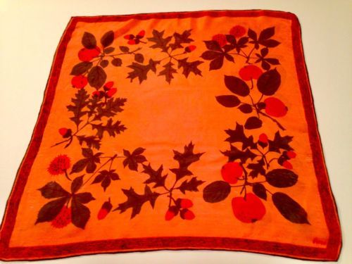 VINTAGE VERA NEUMANN 1960'S persimmon color silk scarf With Fruit WOW!