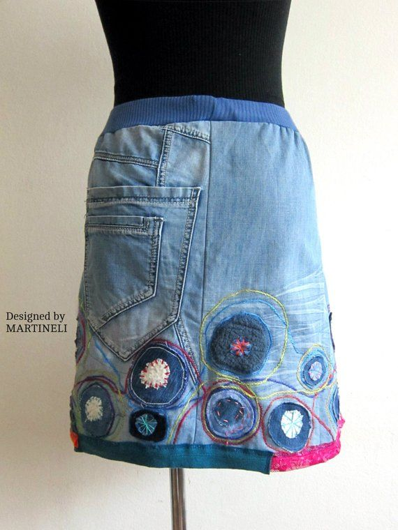 c5ae978f2 S/M Embroidered Denim Skirt, Upcycled Clothing, Bohemian Upcycled ...