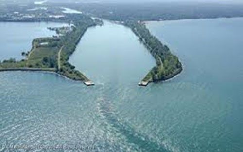 Arial view of the protective headlands from Lake Ontario