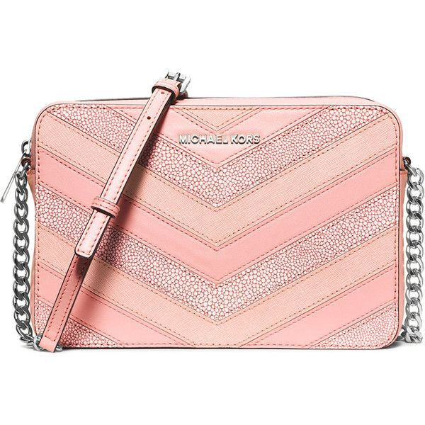 MICHAEL Michael Kors Jet Set Travel Large Chevron-Patch Crossbody Bag ($198) ❤ liked on Polyvore featuring bags, handbags, shoulder bags, pale pink, shoulder handbags, pink purse, handbags crossbody, pink shoulder handbags and chain strap shoulder bag