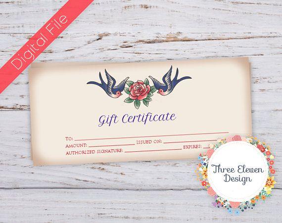 Tattoo Printable Gift Certificate