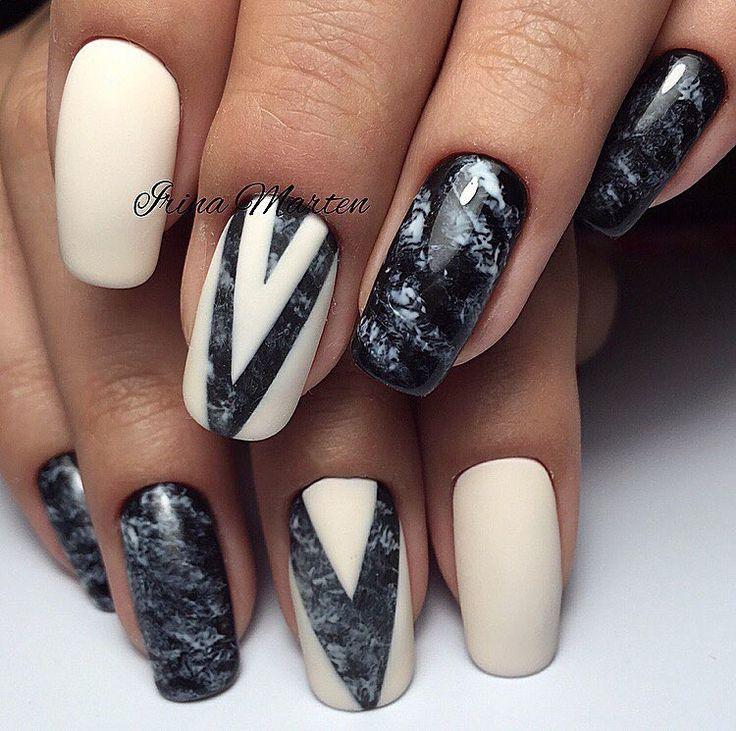 Autumn nails, Beautiful autumn nails, Fashion fall nails, Geometric nails, Geometric nails ideas, Ideas of winter nails, Marble nails, Medium nails