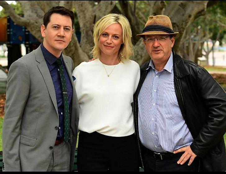 Hamish Michael, Marta Dusseldorp and Peter Andrikidis on the set of Janet King season 3