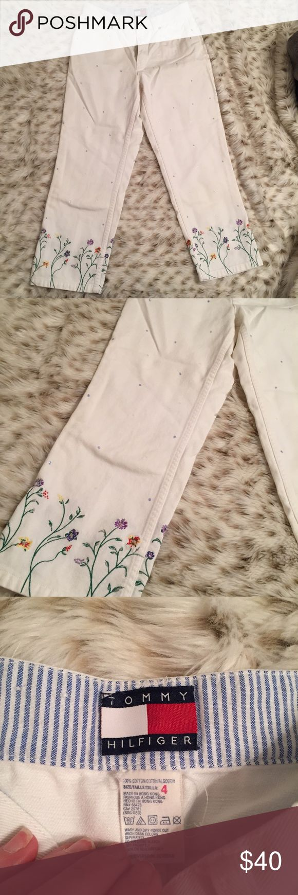 Vintage Tommy Hilfiger Embroidered White Capris Hipster Tommy Hilfiger white Capri with embroidered floral detail and sequins! These are ADORABLE!!!!!!! Perfect for spring!!!! Vintage hipster look! No stains! Inseam is 23 inches! Waist is a size 4! Tommy Hilfiger Pants Capris