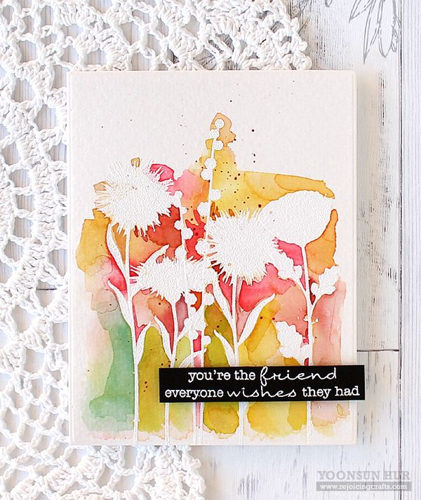 RejoicingCrafts: A watercolor flower card with the MFT Grand Peaceful Wildflowers stamp set. #mftstamps #flower #card #watercolor #cardmaking #stamping #handmade #card