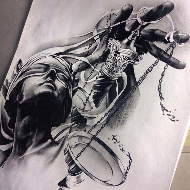 Finished up this piece for a client of mine! Can't wait to tattoo it! #blindfoldedladyjustice #blindfolded #ladyjustice #scale #librascale #sculpture #arts_help #artsanity #artistdrop #Proartists #sketch_daily #spotlightonartists #blvdart #artistmafia #worldofartists #worldofpencils #bnginksociety