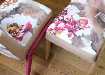 Odnowione fotele z PRL, fotel ,,Aga,, pastelowe kwiaty