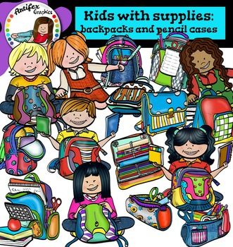 Kids with supplies: backpacks and pencil cases clip art set contains 30 image files, which includes 15 color images and 15 black & white images in png.The set includes: Backpack1, Backpack2, Backpack3, Backpack4, Backpack5, Backpack 6, Boy with backpack1, Boy with backpack2, girl with backpack1, girl with backpack2, girl with backpack3, girl with backpack4,  Pencil case1, Pencil case2, Pencil case3.This clipart license allows for personal, educational, and commercial small business use.