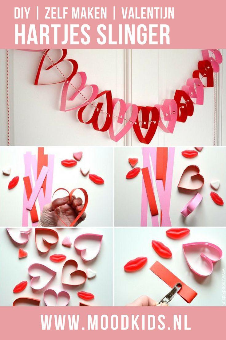 Heel veel hartjes op een rijtje, als dat geen liefdesverklaring is! Een eenvoudige en snelle DIY voor Valentijn.. Slinger van hartjes van papier. Leuk om samen te knutselen #valentijn #knutselen #valentijnsdag