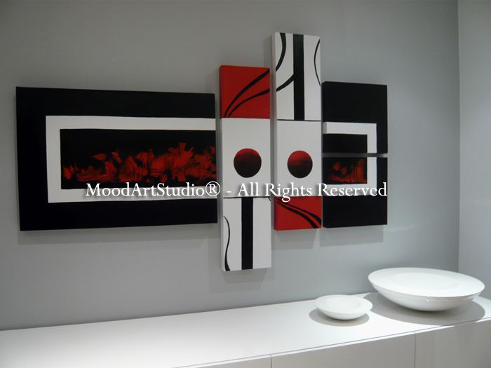 Cuadro moderno estilo minimalista en rojo negro y blanco for Casa minimalista rojo