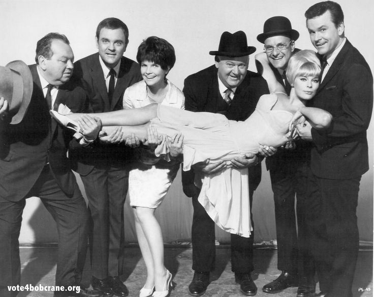 Wicked Dreams of Paula Schultz cast (L-R): Leon Askin, Joey Forman, Maureen Arthur, John Banner, Werner Klemperer, and Bob Crane, and (front) Elke Sommer. We interviewed costar Maureen Arthur for Bob's biography, and her memories of filming the movie and working with Bob Crane are profound.