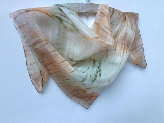 Handmade Pure Silk Neckerchief Material: 100% Natural Silk Silk Watercolors Size: 55 x 55 cm Care: I recommend to wash this scarf han only. Use soft soap to clean it and iron it on the silk temperature setting while is still wet. This lovely silk handkerchief is hand painted. It is