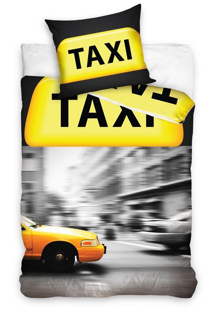 Povlečení Taxi je šedé barvy s obrázkem projíždějícího žlutého taxíku a s výraznou žlutou značkou Taxi v horní části povlečení. Povlečení je vyrobeno ze