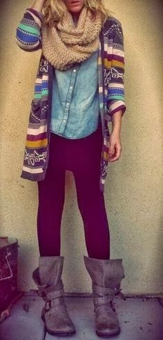 Boots, leggings, cardigans. The choice for college girls? nah more like moms who don't have time to actually think about what they are wearing