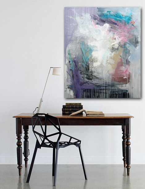 Modern abstract painting, grey, turquoise, pink with interior. Moderne abstrakt maleri by Rikke Laursen