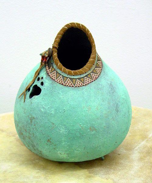 Beautiful Native American Patina Gourd Pot by John Gibson