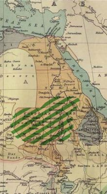 Extent of the Mahdi rebellion in 1885 (green hatching)