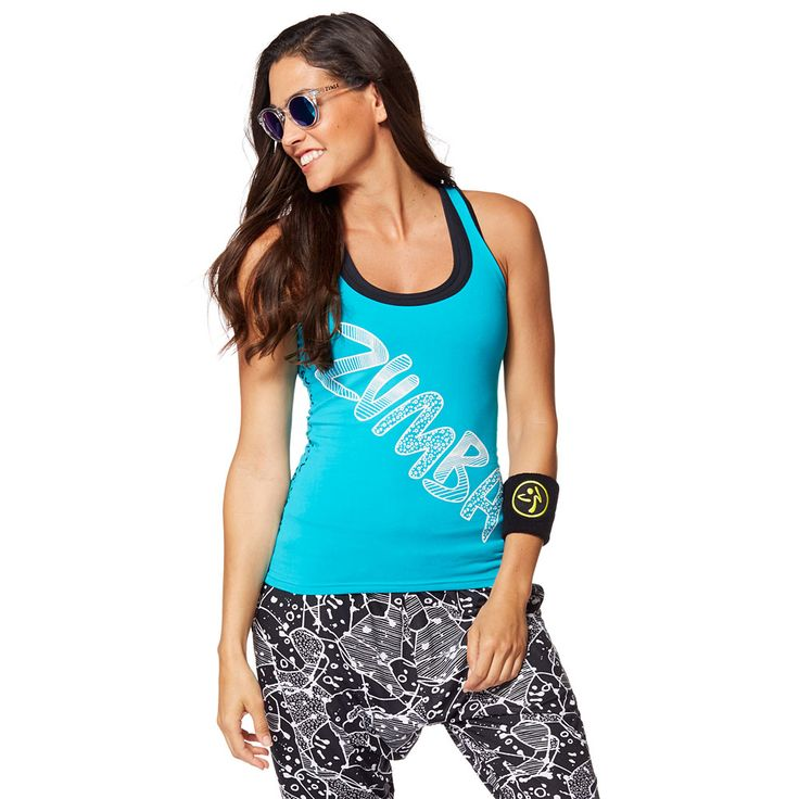 ZUMBA COMIC RACERBACK - WATERFALL ------------------------------- Funk up the dance floor in the Zumba Comic Racerback! This regular length tank features Z-Dri® technology to wick away sweat and a fun print to add some attitude to your outfit.