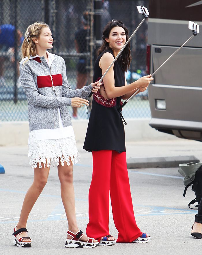 Kendall Jenner and Gigi Hadid are spotted backstage with selfie sticks