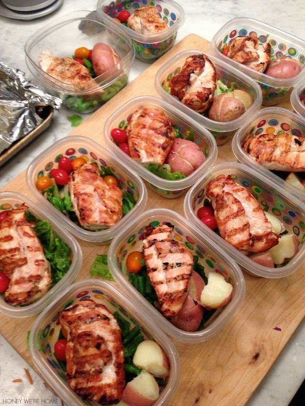 Lunch made easy...prep for the entire week on Sunday, and you can vary some items (like salad or frozen veggies on the bottom).